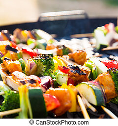 Barbecue with Healthy Skewers - Fresh and delicious barbecue...