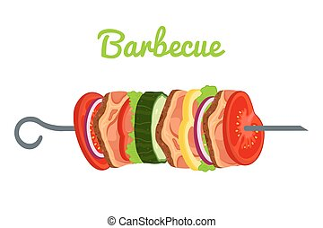 Barbecue with meat, vegetables. Fried meat for picnic. Vector illustration