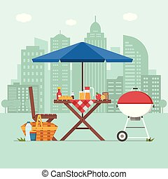 Barbecue with Picnic Table on City Background