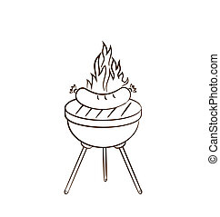 Illustration barbecue with sausage and flame - vector