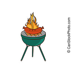 Barbecue with sausage and flame - Illustration barbecue with...