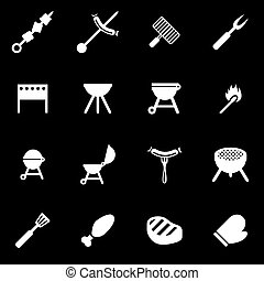 barbecue, witte , vector, set, pictogram