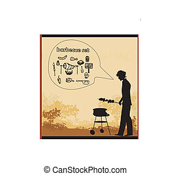 Vector van kok barbecue het koken man grill beeld zijn csp4888068 zoek naar clipart for Beeldkoken