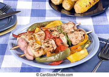 Barbecued chicken kebab