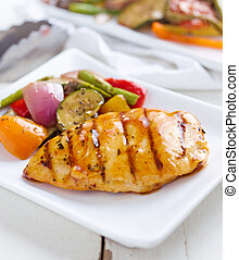 barbecued chicken with fresh vegetable sides