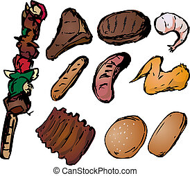Barbecued meats illustration - Barbecued meats with shish ...