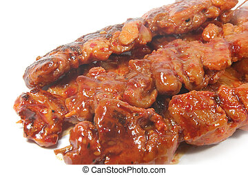 Barbecued Meats Isolated on a white background