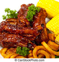 Barbecued ribs - Freshly Grilled BBQ Ribs with Corn
