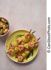 barbecued shrimp and pineapple