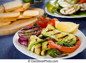 Barbecued vegetable - Barbecued zucchini, tomato and onion...