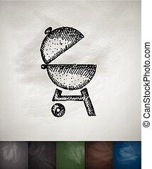 barbecues, illustration, main, vecteur, dessiné, icon.