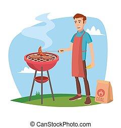 barbecuing., クラシック, 料理, 特徴, 隔離された, イラスト, 白, アメリカ人, vector., 微笑, 漫画, bbq, 人