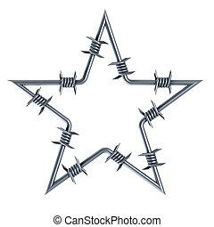 barbed, star-shaped, tråd