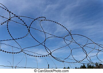 Barbed tape or razor wire fence on sky background