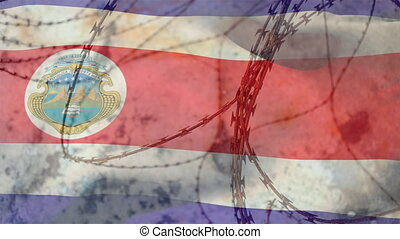 Barbed wire against Costa Rica flag
