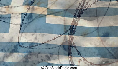 Animation of barbed wire over national flag of Greece waving. Covid 19 coronavirus pandemic travel restrictions digital composite.