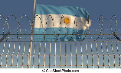 Barbed wire against waving flag of Argentina. 3D rendering...