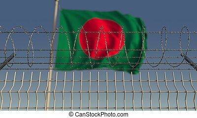 Barbed wire against waving flag of Bangladesh. 3D rendering