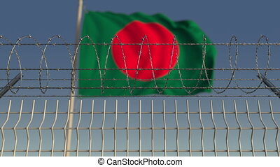 Barbed wire against waving flag of Bangladesh. Loopable 3D...