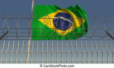 Barbed wire against waving flag of Brazil. 3D rendering