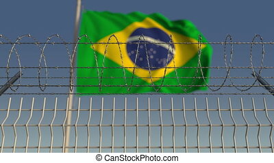 Barbed wire against waving flag of Brazil. Loopable 3D animation