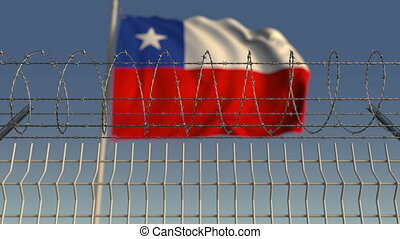 Barbed wire against waving flag of Chile. Loopable 3D...