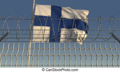 Barbed wire against waving flag of Finland. 3D rendering