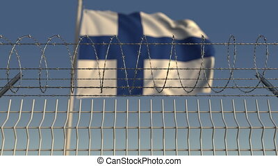 Barbed wire against waving flag of Finland. Loopable 3D...