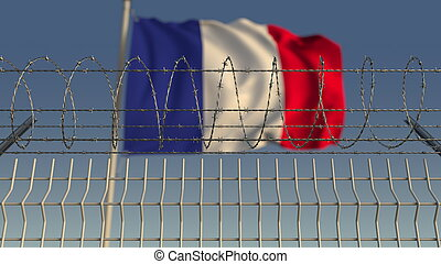 Barbed wire against waving flag of France. 3D rendering