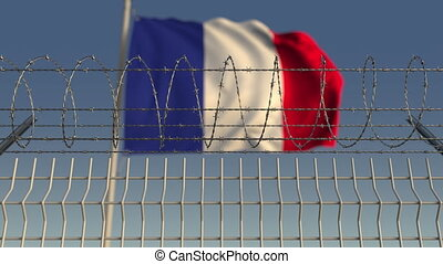 Barbed wire against waving flag of France. Loopable 3D...