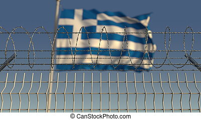Barbed wire against waving flag of Greece. 3D rendering