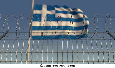 Barbed wire against waving flag of Greece. Loopable 3D...