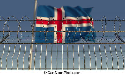 Barbed wire against waving flag of Iceland. 3D rendering