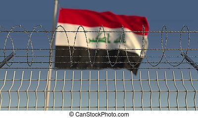 Barbed wire against waving flag of Iraq. 3D rendering