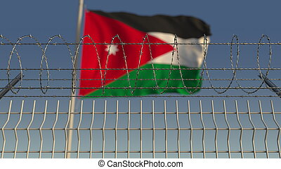 Barbed wire against waving flag of Jordan. 3D rendering