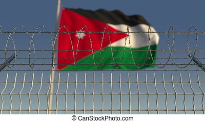 Barbed wire against waving flag of Jordan. Loopable 3D...