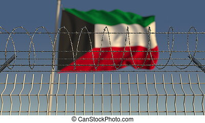 Barbed wire against waving flag of Kuwait. 3D rendering