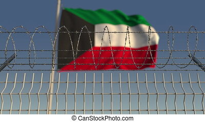 Barbed wire against waving flag of Kuwait. Loopable 3D...