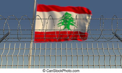 Barbed wire against waving flag of Lebanon. 3D rendering