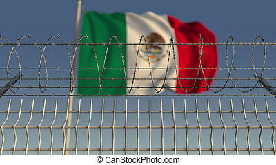 Barbed wire against waving flag of Mexico. 3D rendering