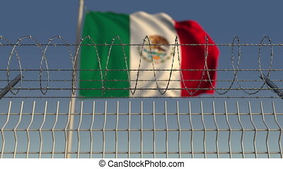 Barbed wire against waving flag of Mexico. Loopable 3D...