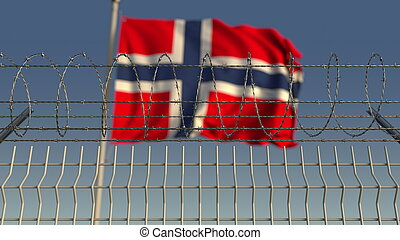 Barbed wire against waving flag of Norway. 3D rendering - ...