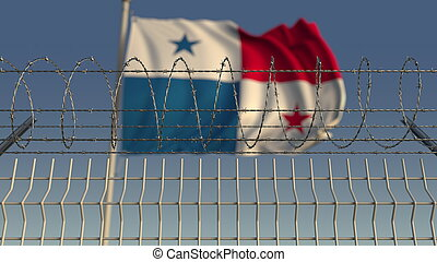 Barbed wire against waving flag of Panama. 3D rendering