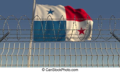 Barbed wire against waving flag of Panama. Loopable 3D...