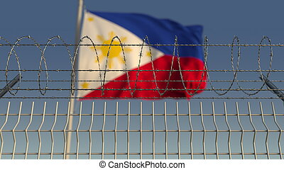 Barbed wire against waving flag of Philippines. 3D rendering...