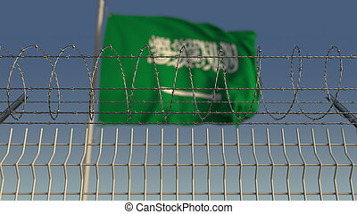 Barbed wire against waving flag of Saudi arabia. 3D ...
