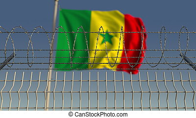 Barbed wire against waving flag of Senegal. 3D rendering - ...