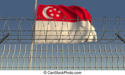 Barbed wire against waving flag of Singapore. 3D rendering...