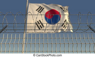 Barbed wire against waving flag of South Korea. 3D rendering...