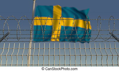 Barbed wire against waving flag of Sweden. 3D rendering - ...
